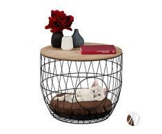 Relaxdays tavolino con Cuccia, per Gatti & Cani Piccoli, 2 in 1, cesta a Rete con Cuscino, HxD 40x50cm, Nero