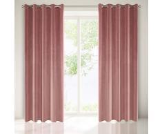 Eurofirany Tenda Velvet Rosa Scuro Velluto 1 Pezzo Morbidi 10 Occhielli Eleganti di Alta qualità , Glamour per Camera da Letto, Soggiorno, Salotto, Tessuto, 140 x 250 cm