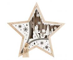 III Stella in legno con illuminazione a LED, pupazzo di neve, ca. 32 x 32 x 5 cm, con timer da 6 ore, funzionamento a batteria, per Natale, in inverno, colore: marrone