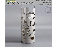 Siro Time Portaombrelli, Metallo, Bianco, Unica