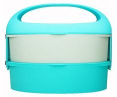 Outlook Design G. Lunch Borsetta Porta Pranzo con Due Contenitori, Adatti a Microonde e Frigo, ABS e Manico in Silicone, Azzurro