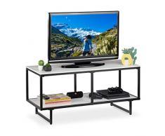 Relaxdays - Mobile Basso per TV, 2 Ripiani, per Salotto, Aperto, Struttura in Metallo, 50,5 x 110,5 x 45,5 cm, MDF, 5 x 45,5 cm, Colore: Bianco/Nero
