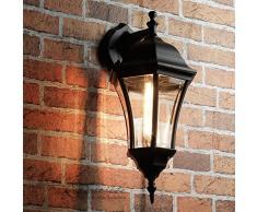 Parete elegante parete esterna luce nera WARSCHAU alluminio vetro H: 44 centimetri Garden Lantern Lampada balcone terrazza