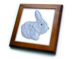 3dRose Blue Marshmallow Coniglietto Pasquale Candy-Framed mattonelle, 6Â x 15,2Â cm, Legno/Ceramica, Multicolore, 8Â x 8