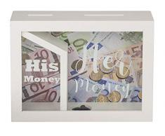 Out of the blue Salvadanaio Bianco in Legno, con 2 Fessure, His Money & Her Money, 20 x 15 cm