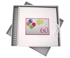 WHITE COTTON CARDS Biglietto per 60esimo compleanno con Neon e libro dei ricordi, motivo: palloncini, colore: bianco