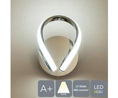 HARPER Living Halo - Lampada da parete a 1 LED con interruttore a levetta, finitura cromata lucida, 12 W, 680 lm, (bianco naturale 4000 K), ideale per camera da letto, soggiorno, corridoio, hotel, B&B