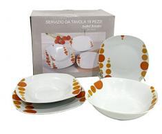 Viscio Trading Dotted Servizio Piatti 19 Pezzi Quadro, Porcellana, Arancio, 20x30x30 cm
