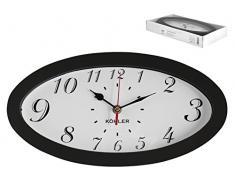 H&H Eg6977 Orologio Parete Ovale Ner33X17 Arredo E Decorazioni Casa, Nero/Bianco, 34x18x5 cm