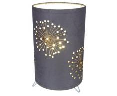 Firework - Lampada da tavolo con telaio in metallo e paralume in stoffa e pellicola, 1 x E14 max 40 W eco 9 W (escl.), Ø 15 cm, H 25 cm, 2 diversi colori grigio