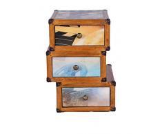 Stones Collezione Hollywood Cassettiera, Legno, Multicolore, 38x55x55 cm