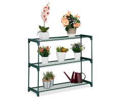 Relaxdays Supporto per Piante, 3 Ripiani, per vasi da Fiori, Interno, Ferro e plastica, 74,5 x 91 x 28,5 cm, Colore: Verde, Acciaio, Confezione da 1