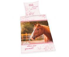 Herding Young Collection Horses, biancheria da letto, in cotone, bianco, 200Â x 140Â x 0.2Â cm