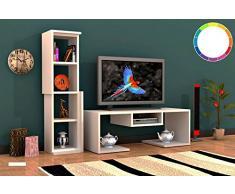 Homemania Mobile Porta TV Bacio, Legno, Bianco, 126,8x35x103,6 cm