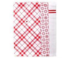 Feinkost Strofinacci da Cucina, Cotone, Rosso/Bianco, 8x 26cm, 3unità