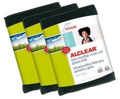 ALCLEAR, Panno pulisci Schermo in Microfibra per iPhone, iPad e iPod, 19 x 14 cm, Grigio (Anthrazit), 3 pz.