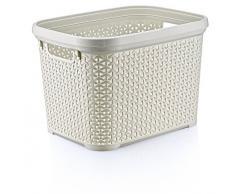 HOBBY LIFE - Cesta per la lavanderia stile rattan in plastica, 30 L, rettangolare, profondo