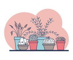 Giallo Bus 6098 Adesivo Murale Piante e Fiori, Modello Vasi di Cactus, Taglia L, 100 x 70 cm