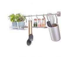 iDesign Austin Barra portautensili cucina, Portaspezie da parete in metallo anche per mestoli e vasetti di odori, argento