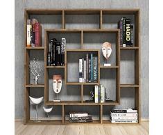 Homemania Libreria Frame, Legno, Noce, 125x20x125 cm