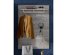 Stella Trading Rocky-Appendiabiti Effetto Argentato, Decorazione in legno, Rovere dargento, abs. larice, 90 x 128 x 28 cm