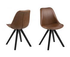 AC Design Furniture Nadia Sedia per Sala da Pranzo, Similpelle, Cognac, B: 48,5 x T:55 x H: 85 cm, 2 unità