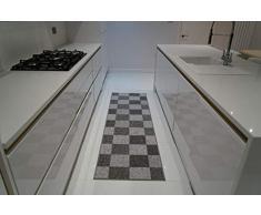 Serdim Rugs Gelback Tappeto Antiscivolo dal Design Geometrico per Cucina e corridoi Multiuso – tappetini, Grigio, 80x300cm(26 x910)