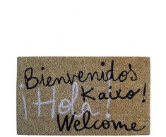 laroom Zerbino Motivo Benvenuto Kaixo Hola Welcome, Jute And Base Antiscivolo, Marrone, 40 x 70 x 1.8 cm