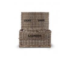 Garden Trading Cesto per biancheria, in rattan, con scritta per Dark/Light (scuri/chiari), colore marrone
