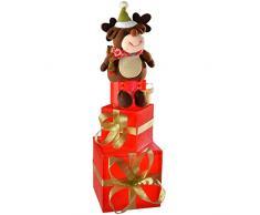WeRChristmas - Decorazione natalizia a forma di renna su scatole regalo, con luci LED a colori cangianti, 50 cm