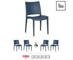 Tilia - Sedia Specto, in Polipropilene, 42 x 45 x 80 cm, 4 Pezzi, Colore Blu