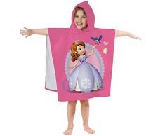 Disney Sofia 042294 - Asciugamano con Cappuccio, da Bambina, in Cotone Vellutato, 60 x 120 cm