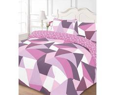 Dreamscene forme Copripiumino Matrimoniale con federe, set di biancheria da letto, Poliestere, colore: viola, Super King