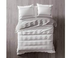 Heckett Lane Biancheria da Letto Reversibile 100% Cotone Percalle Jason 240 White/Silver Grey