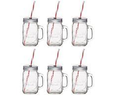 Kitchencraft Home Made bicchiere con cannuccia, vaso, verde (set di 6),, Vetro, Clear, 11 x 7.2 x 13 cm
