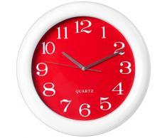 H&H Orologio Paret Tondo/Rosso 37 Arredo E Decorazioni Casa, Bianco, 37 cm
