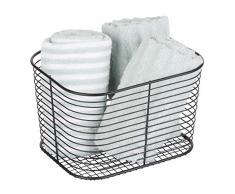 iDesign Vienna, Grande portaoggetti Bagno in Metallo Ideale Come Cestino portacosmetici o per Gli Asciugamani, Nero Opaco, 18,8 cm x 23,9 cm x 14,5 cm