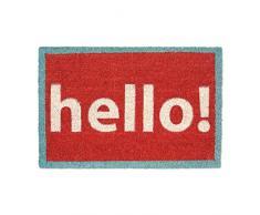 Relaxdays Zerbino per Ingresso, Modello Hello!, con, 60 X 40 cm, in Fibra di Cocco e Base Inferiore in PVC Antiscivolo, Rosso