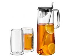 WMF iceteatime Caraffa 1,2L vetro con due doppelwandigen Occhiali 0,27l lavabile in lavastoviglie