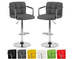Sgabelli da Bar in pelle PU - Sgabello da Cucina Cromato Regolabile Girevole con schienale - 360 ° ruotabile - Disponibile in 6 colori - Design Elegante e Moderno - 2 Pezzi (Grigio)