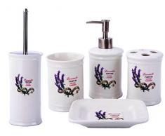 GMMH Paese casa Vintage Set da Bagno Lavanda Bagno Set di Accessori Dispenser di Sapone Liquido-Scopino per WC in Ceramica (Set da 5Pezzi)