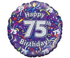 Oaktree UK - Palloncini in fogli di alluminio, 46 cm, per 75esimo compleanno, multicolore