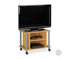 Relaxdays - Tavolino per TV con Ruote, 2 Scomparti, 45 x 60 x 40 cm (A x L x P), Effetto Legno