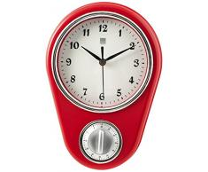 H&H Orologio Parete Rosso Cm16Xh22 Arredo E Decorazioni Casa, Bianco, 16x22 cm