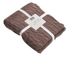 EHC lavorata a maglia in cotone pettinato super soffice decorativo copridivano coperta, moka, singolo, 125 x 150 cm