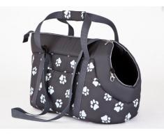 Hobbydog borsa da trasporto per cani e gatti, taglia 1, grafite con zampe stampa