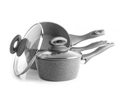Salter, grigio BW02986G-Set antiaderenti in alluminio forgiato collezione Marble, 16/18/20 cm, acciaio inossidabile, Set di pentole 3 pezzi