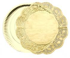 IBILI 729510 - Set di 3 piatti da 32 cm + 3 tovagliette tonde da 34 cm, color oro