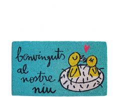laroom Zerbino Motivo Benvinguts al nostre NIU, Jute And Base Antiscivolo, Blu, 40 x 70 x 1.8 cm