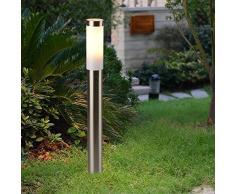 lampada per esterni in argento 80cm alto Ø6cm E27 IP44 adatto illuminazione cortile giardino via
